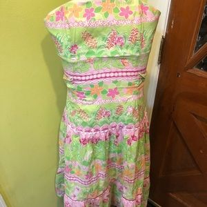 Lilly Pulitzer strapless tube dress. Size 2